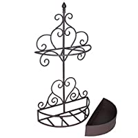 Dibor Wrought Iron Black Ornate Hallway Heart Umbrella Stand Rack (R208)