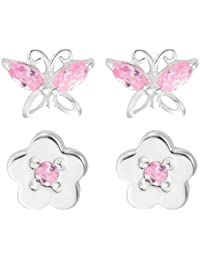 Bijoux pour tous S-ER9257PZ - Pendientes de plata de ley con circonita con cierre de mariposa a presión