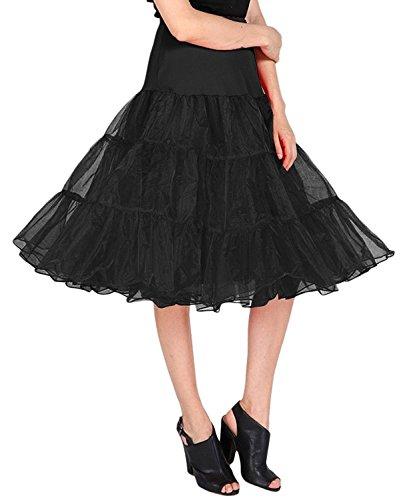 LIDORY 50s Petticoat Vintage Retro Reifrock Unterrock Schwarz Underskirt Crinoline für Wedding Bridal Petticoat Rockabilly Kleid (XL, Schwarz)