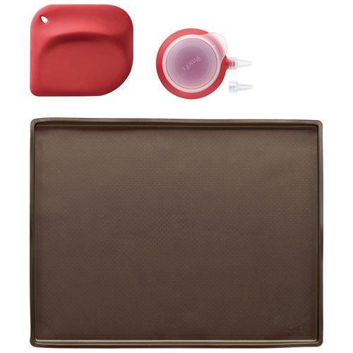 Lékué Backset für Biskuitrollen 3-teilig, Silikon, schwarz, 40x30x8 cm Jelly Roll Pan