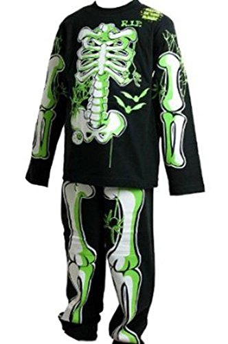 Pigiama/vestito per halloween da bambino, si illumina al buio, disegno di scheletro fosforescente, colore: nero, con ossa bianche e verdi nero  7 anni