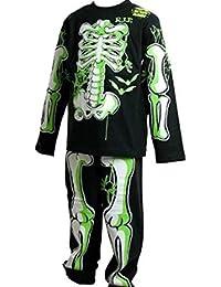 Childrens brillan en el oscuro esqueleto pijamas/Halloween disfraces traje negro con verde/blanco