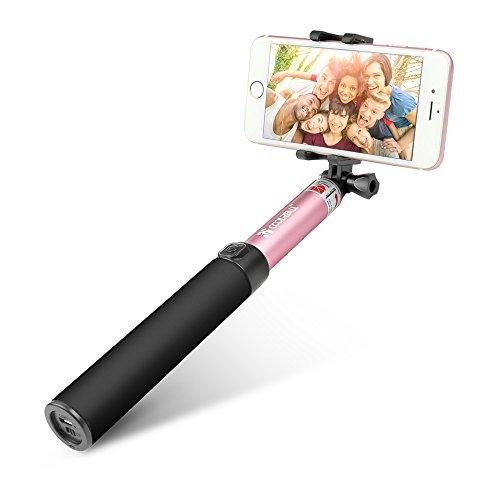 Bastone Selfie Bluetooth, Coolreall Selfie Stick con Asta Estendibile fino a 90cm, Controllo Wireless, Compatibile con Smartphone IOS e Android iPhone Samsung Huawei LG HTC (Rosa)