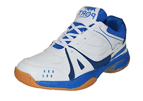 Triqer Mens 750 Blue PU Badminton Shoe For Men, Boys, Women, Girls & Junior Upper PU Material Non Marking Sole Outdoor Indoor Playing - Best in Badminton & Other Games Basketball, Volleyball, Running, Gymnastic, Jogging, Walking & Weight Lifting Sports Shoe