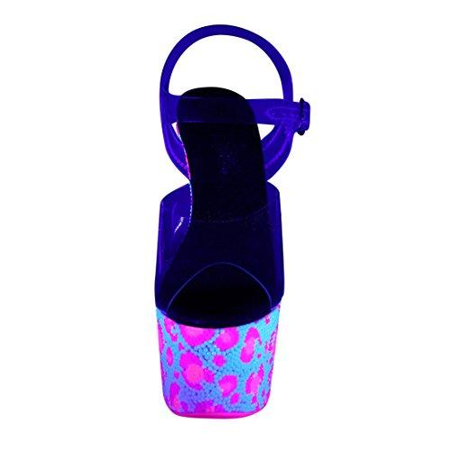 Pleaser BEJEWELED-708UVLP Clr/Neon Wht-Neon H. Pink