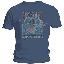"""T-Shirt Homme Bleu Marine Nirvana """"Nevermind Frame"""" (Taille XL)"""