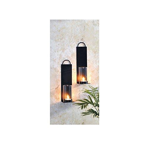 Licht-schwarz-wand-halterung (2x Wandkerzenhalter aus Metall mit Windlicht)