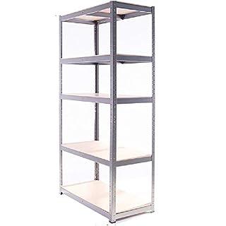 ANZ Heavy Duty Metal Steel Shelving Shelves Storage Unit Industrial Powder Coated Grey