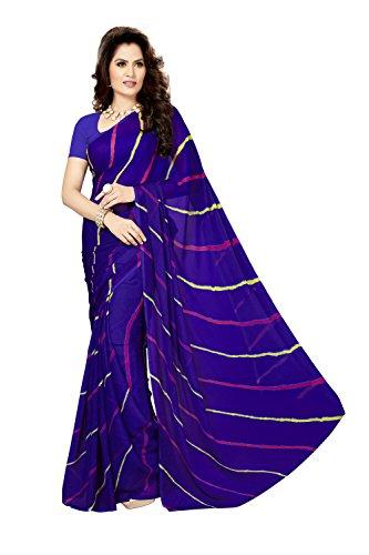Rani Saahiba Women's Chiffon Saree without Blouse Piece (SKR3545, Blue)