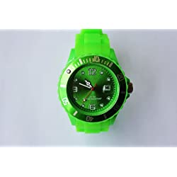 GREEN I-STYLE QUARTZ RUBBER SILICONE SPORTS WATCH UNISEX WITH DATE