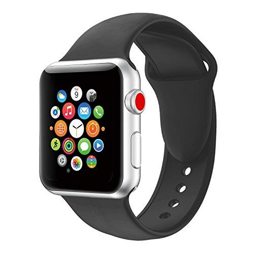 YOUKESI Apple Watch Armband 38mm, Soft Silikon Ersatz Uhrenarmbänder für iWatch Serie 3 Serie 2 Serie 1 Sport (38mm Schwarz)