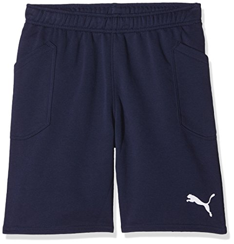 PUMA Kinder Liga Casuals Shorts Jr Hose, Peacoat-Puma White, 164