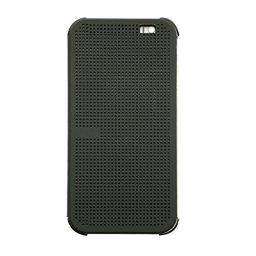 Merrystore@ HC M100Fashion Dot View Case Smart Flip Folio Cover für HTC One M8, grau, 2.9 x 0.5 x 7.1 inches (Case View Htc M8 Dot One)