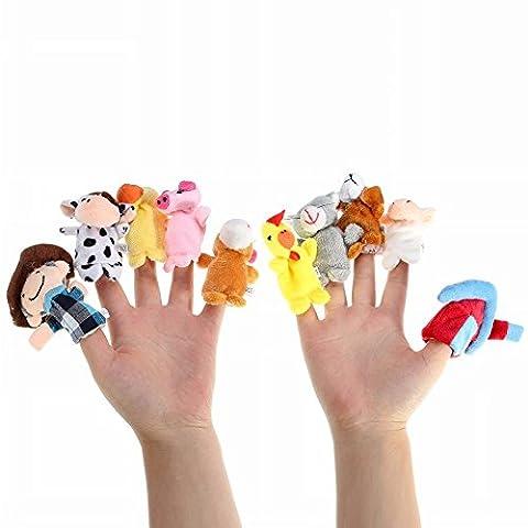 Kungfu Mall 10pcs Bauernhof Tiere Karikatur Storytelling Finger Hand Lustige Marionetten für Kinder Puppe Tale Props Plüschtier