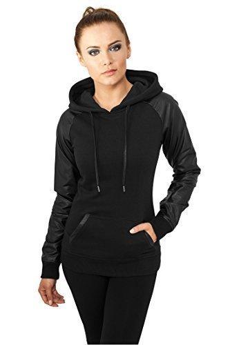 urban-classics-tb800-ladies-raglan-leather-imitation-hoody-felpa-regular-fit-donna-taglia-l-black-bl
