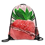 HLKPE Strawberry Drawstring Backpack Rucksack Shoulder Bags Training Gym Sack for Man and Women