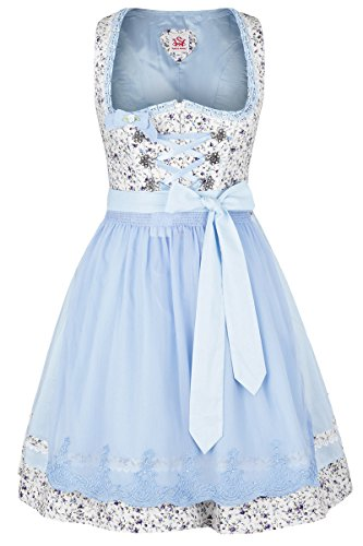 Damen Spieth & Wensky Dirndl mini Blumenmuster hellblau, blau, 34