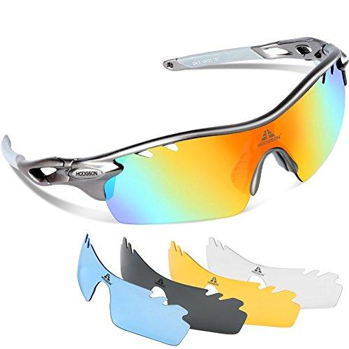 HODGSON Fahrradbrille Sport Sonnenbrille für Herren und Damen Polarisierte, Sportbrille mit 5 Wechselobjektiven und Radsports, Baseball, Laufen, Tr90-Grau …