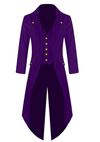 Outgobuy Herren Steampunk Vintage Frack Jacke Gothic viktorianischen Frock Mantel Uniform Kostüm (M, (Kostüme Herren Jacke)