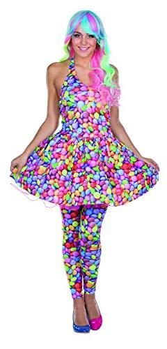 Rubie's Damen Kostüm Schokolinse Kleid Bunt Candy Fasching Karneval Schokoladen-Linse (36) (Kostüm Von Katy Perry)