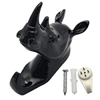 Evilandat Single Rhino Head Wall Hanger Coat Hat Hook Animal Shaped Decorative Gift