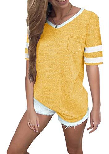 Gelbe Damen-shirt (Ehpow Damen Kurzarm T-Shirt V-Ausschnitt Casual Sommer Lose Shirt Oversize Oberteile (Large, Gelb))