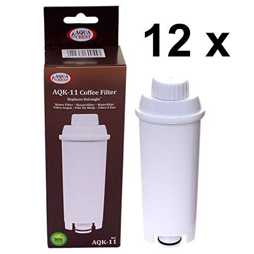 12 x AQK-11 - Wasserfilter für DeLonghi Kaffeemaschine - ersetzt DLS C002 / DLSC002 / SER3017 / SER...