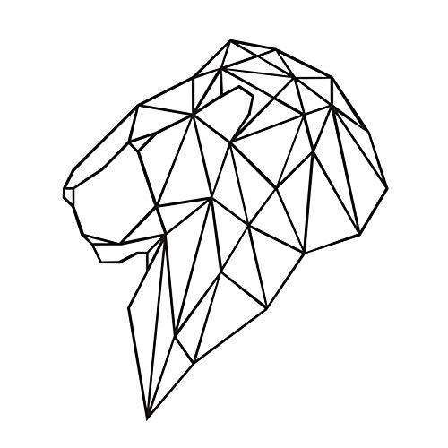 Geometrische Kopf Of Lion Aushöhlen Wandaufkleber Für Wohnzimmer Wohnkultur Vinyl Selbstklebende Kunst Decals 58x68 cm -