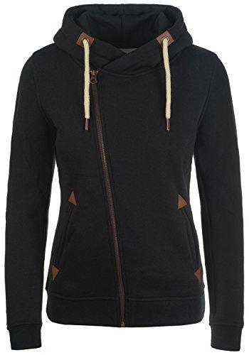 DESIRES Vicky Zip-Hood Damen Sweatjacke Kapuzenjacke Hoodie Mit Kapuze Fleece-Innenseite Und Cross-Over-Kragen, Größe:M, Farbe:Black (9000)