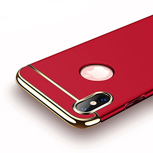 Cover per iPhone X,Cover per iPhone 10 ,Bonice Antiurto Antigraffio Ultra Slim Thin Staccabile 360 Gradi Della Copertura Completa 3 in 1 Hard PC Full Body Case Cover Stilosa Protettiva Bumper Posterio Ross-02