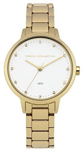 French Connection–Reloj de Cuarzo para Mujer con Esfera analógica Blanca y Dorado Correa de Acero Inoxidable fc1281gm