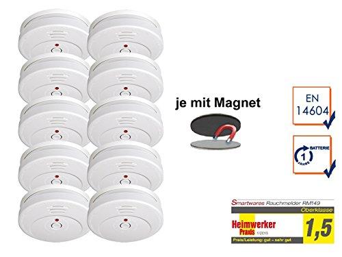 SMARTWARES 10er-Set Rauchmelder reinweiß mit Magnethalter, 85dB Alarm, TÜV zertifiziert; RM149...