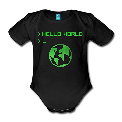 Spreadshirt Hello World Baby Bio-Kurzarm-Body, 68 (3-6 M.), Schwarz