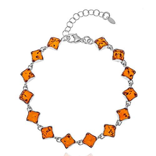 Copal Damen Armband Bernstein Silber Natur Länge Flexibel Geschenkbox Geburtstags Geschenke für Beste Freundin