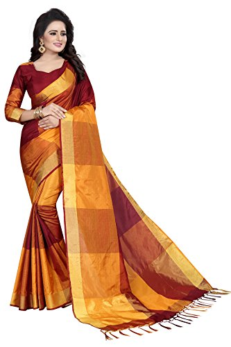 J B Fashion Women's Cotton Silk Saree With Blouse Piece (Ekkat-03_Maroon)