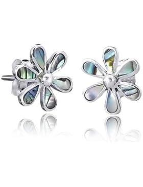 925 Sterling Silber Ohrstecker Blume / Perlmutt - Silber Ohrringe mit echtem Perlmutt / Abalone inkl. Schmuck...