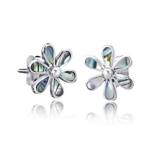 925 Sterling Silber Ohrstecker Blume/Perlmutt - Silber Ohrringe mit echtem Perlmutt/Abalone inkl....
