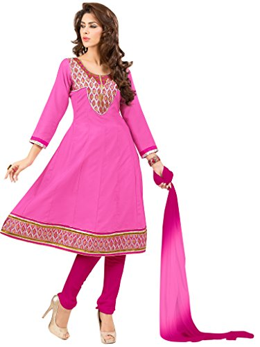 Vibes Women's Pure Cotton Straight Fit Un Stitched Salwar Kameez(V62-3002_Pink)