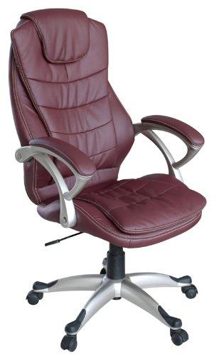 My sit sedia da ufficio poltrona girevole direzionale presitenziale regolabile in altezza pelle sintetica nuovo chicago deluxe in borgogna con braccioli
