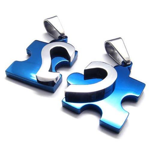 KONOV Schmuck 2 Freundschaftsketten Herz Puzzle Love Edelstahl Partner-Anhänger mit 45cm und 55cm Kette, Halskette für Damen & Herren, Blau Silber