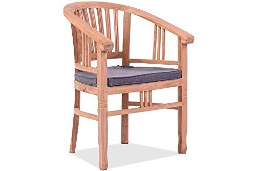 Outflexx OUTFLEXX Armlehnensessel in natur, hochwertiger Gartensessel, Garten-Stuhl aus Teakholz Teak, Holzstuhl inkl. Polster-Auflagen