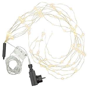 Lichterregen - 100 LED warm weiß 10 Stränge mit je 10 LED Trafo Timer Lichterkette Weihnachtsdeko Partydeko Lichterbündel Weihnachten Silberdraht