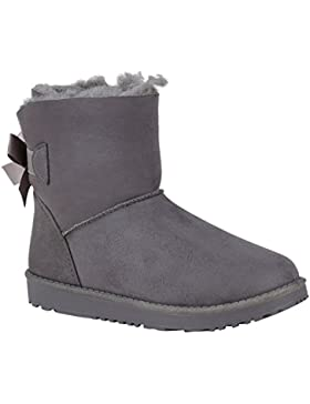 Stiefelparadies Warm Gefütterte Stiefel Damen Stiefeletten Schleifen Satinoptik Schuhe Bequeme Schlupfstiefel...