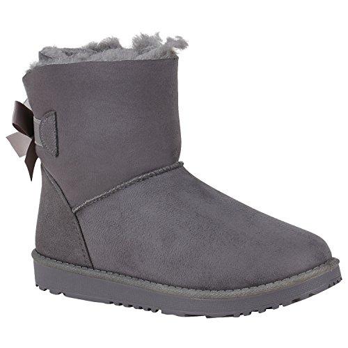 Stiefelparadies Damen Stiefeletten Schlupfstiefel Warm Gefütterte Stiefel Schuhe 150532 Grau...