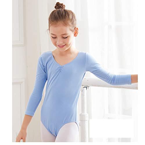 Dancewear Kinderbekleidung Dancewear Mädchen Mädchen Ballett Sportbekleidung Kinder Gymnastikbekleidung Anzug Hellblau Langarm ungeöffnete Hose Höhe 130 cm