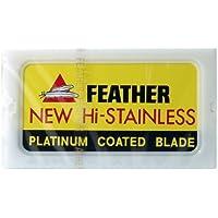 Da barba Factory Feather in acciaio INOX doppio taglio di sicurezza-lamette, 1 pacchetto (1 x 10 pz)