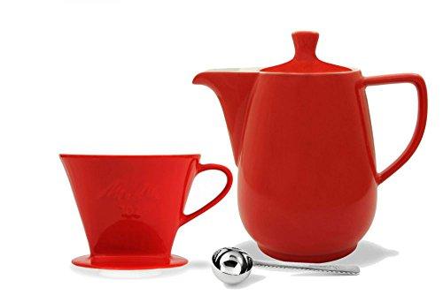 Friesland Melitta Kaffeefilter 102 1 Loch Porzellan rot + Kaffeekanne 0,6L rot + Kaffeemaßlöffel