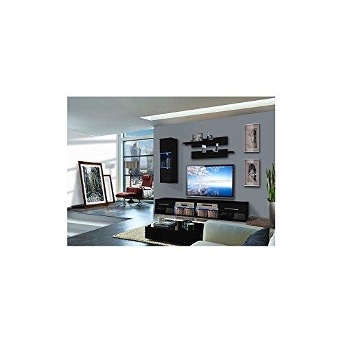 Ensemble Meuble TV Mural - 1 Vitrine LED - Tubus V - L 120 Cm - Noir