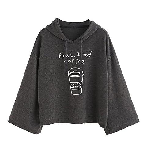 Damen Pullover Xinan Langarm Hemd Grau Letter Print First I need Coffee Hoodie (M, Grau)