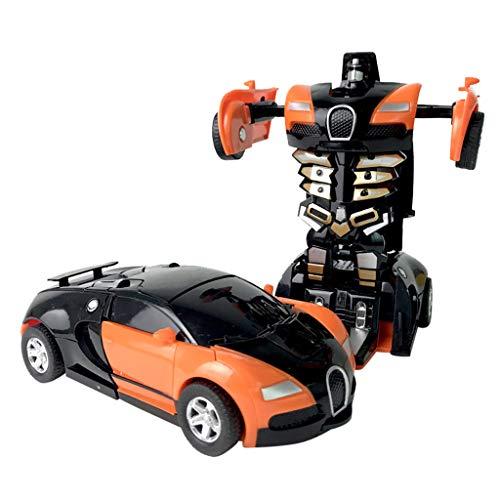 Auto Spielzeug, QHJ Klein Roboter Auto 1:32 Ziehen Sie das Zusammenstoß 12.5CMX6CM Auto Kinderverformungs Auto Roboter-Spielzeug für Kinder Zurück (B-Orange)